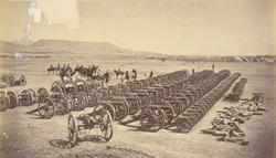 General Roberts and staff [inspecting captured Afghan artillery, Sherpur Cantonment, Kabul]. 35